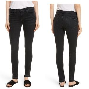 Rag & bone dre skinny washed black jeans fray hem